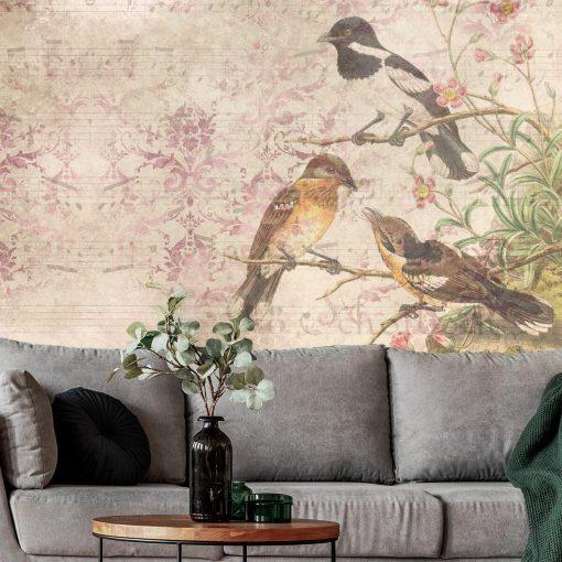 Finezyjna fototapeta z ptakami na gałęzi do biura