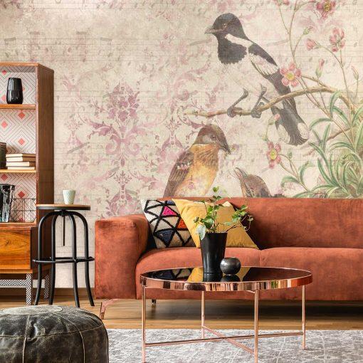Finezyjna fototapeta z ptakami na gałęzi do salonu