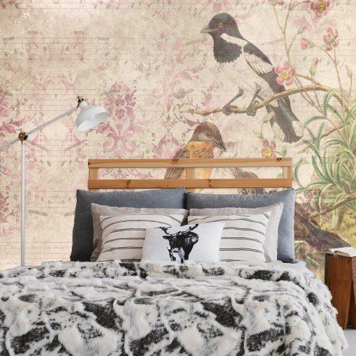 Finezyjna fototapeta z ptakami na gałęzi do sypialni