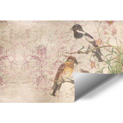 Finezyjna fototapeta z ptakami na gałęzi na przedpokój