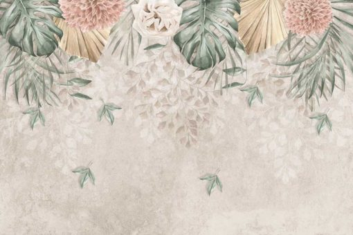 Foto-tapeta w pastelowe kwiaty do jadalni