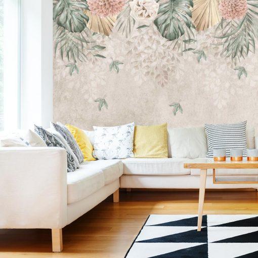 Foto-tapeta w pastelowe kwiaty do salonu