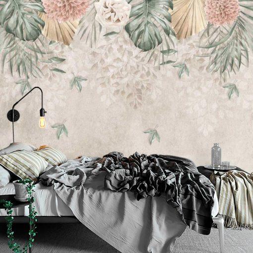 Foto-tapeta w pastelowe kwiaty do sypialni