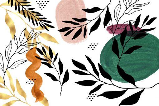 Foto-tapeta z abstrakcją i roślinami