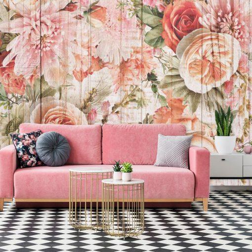 Foto-tapeta z kwiatami na tle desek do ozdoby salonu