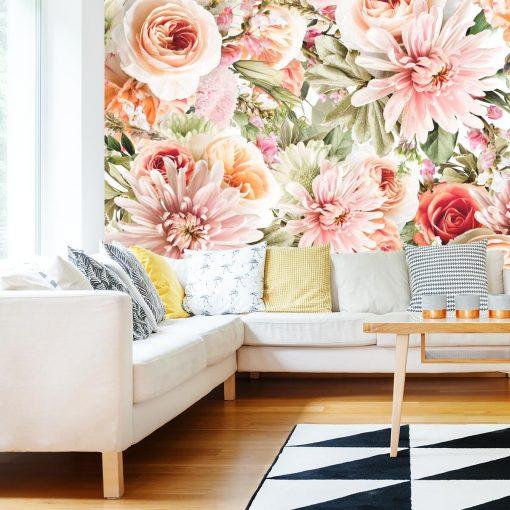 Foto-tapeta z kwiatowym motywem do ozdoby sypialni