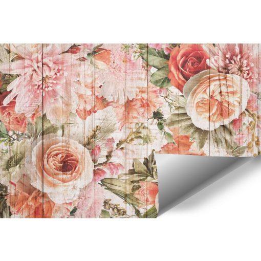 Foto-tapeta z kwiatowym motywem na deskach