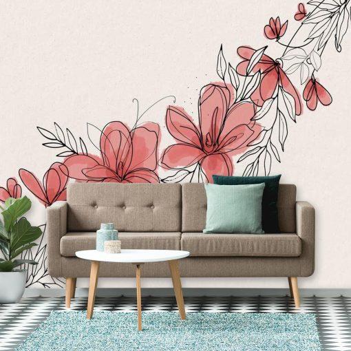 Foto-tapeta z kwiatuszkami w graficznym stylu