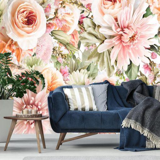 Foto-tapeta z motywem kwiatowym w ciepłych kolorach