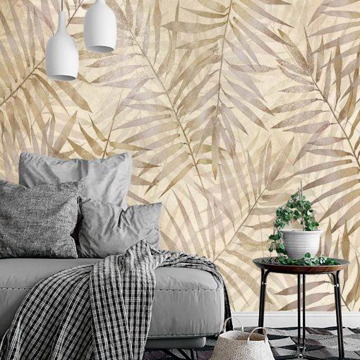 Fototapeta boho w palmowe liście do salonu