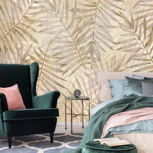 Fototapeta boho w palmowe liście do sypialni