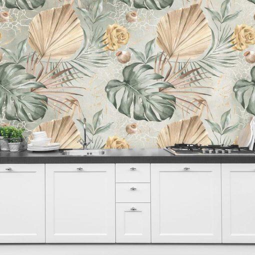 Fototapeta - Liście i kwiaty do kuchni