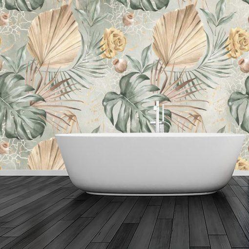 Fototapeta - Liście i kwiaty do łazienki