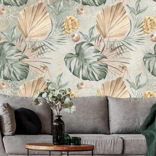 Fototapeta - Liście i kwiaty do salonu