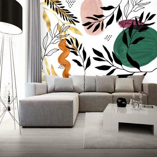 Fototapeta roślinami i abstrakcją