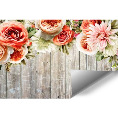 Fototapeta rustykalna z deskami i piwoniami