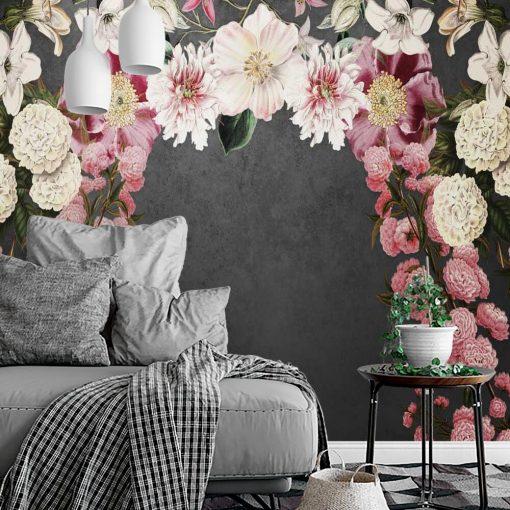 Fototapeta z ciemnym tłem i różowymi kwiatuszkami