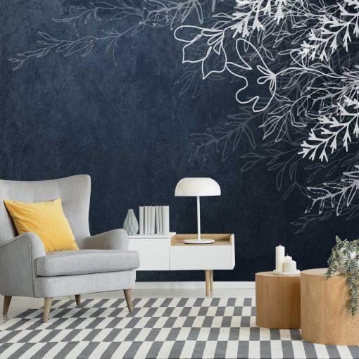 Fototapeta z gałązkami na atramentowym tle do dekoracji salonu