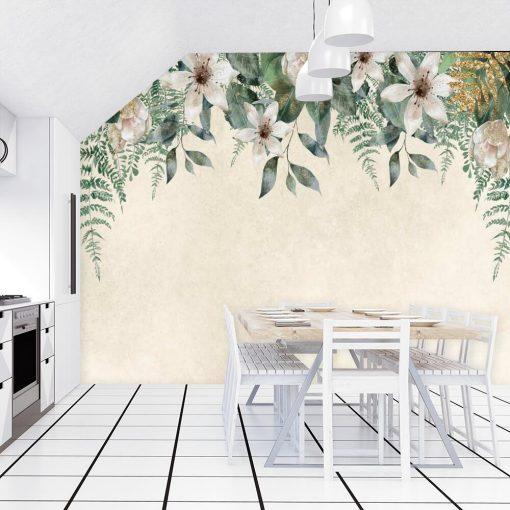 Fototapeta z kompozycją jasnych kwiatów do kuchni