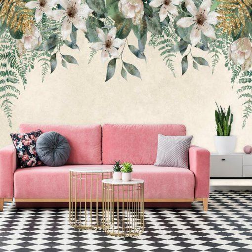 Fototapeta z kompozycją jasnych kwiatów do salonu