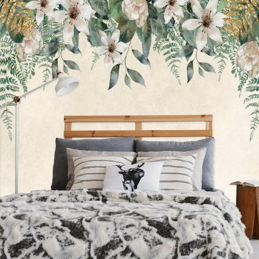 Fototapeta z kompozycją jasnych kwiatów do sypialni