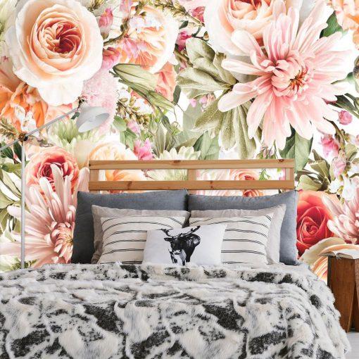 Fototapeta z kwiatami w pastelowych barwach