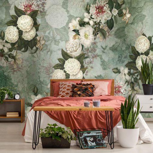 Fototapeta z kwiatową kompozycją do sypialni