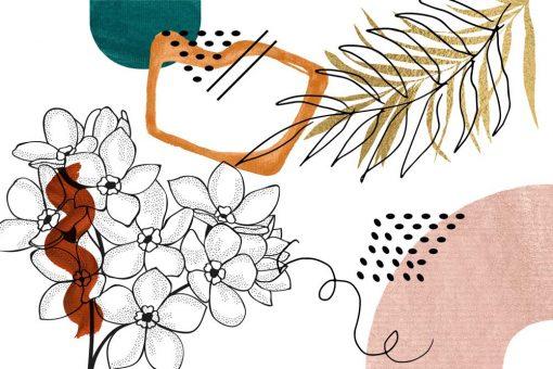 Fototapeta z motywem kwiatowymi i abstrakcyjnym