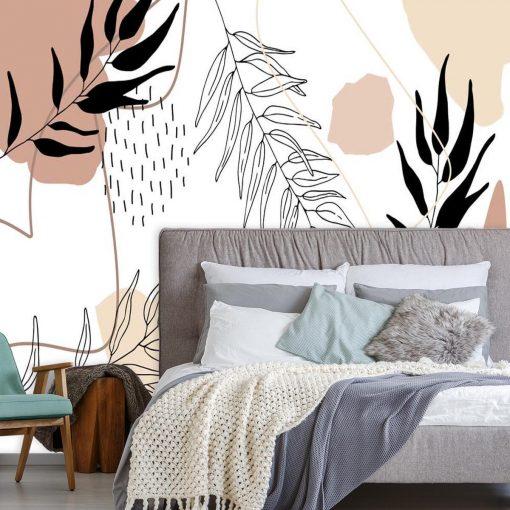 Fototapeta z motywem liści i abstrakcji do dekoracji salonu