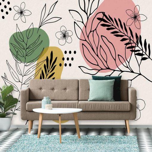 Fototapety z abstrakcją i roślinami do upiększenia salonu