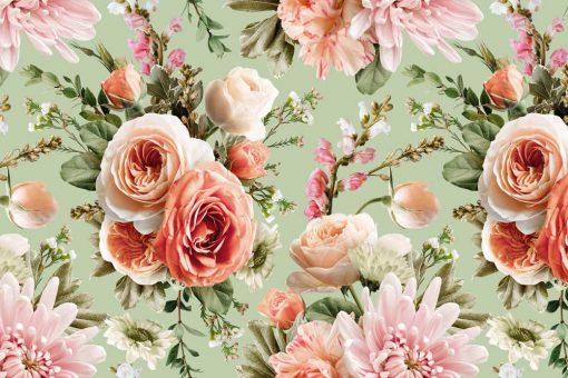 Kobieca fototapeta z różami na miętowym tle