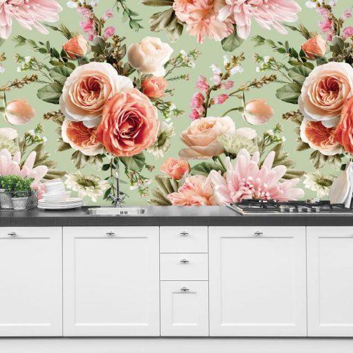 Kobieca fototapeta z różami na miętowym tle do kuchni
