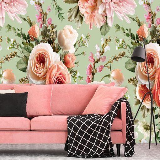 Kobieca fototapeta z różami na miętowym tle do salonu kosmetycznego