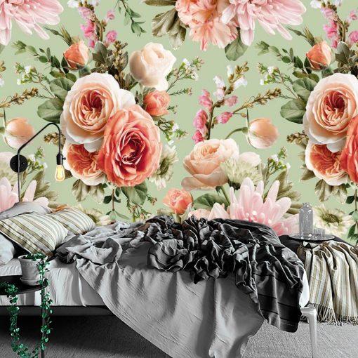 Kobieca fototapeta z różami na miętowym tle do sypialni