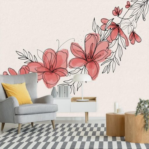 Kwiatowa fototapeta do ozdoby salonu