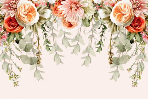Kwiatowa kompilacja - Pastelowa fototapeta