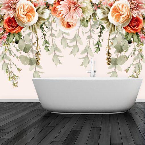 Kwiatowa kompilacja - Pastelowa fototapeta do łazienki