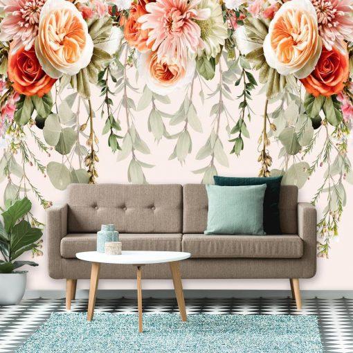 Kwiatowa kompilacja - Pastelowa fototapeta do salonu