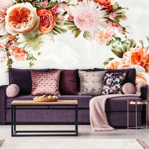 Kwiaty na tapecie do dekoracji salonu
