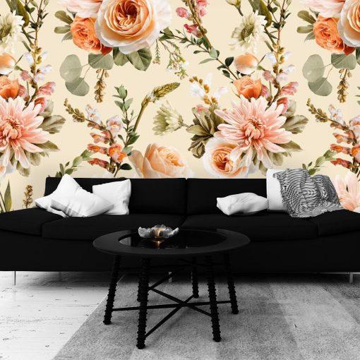 Kwiecista foto-tapeta z różami do salonu