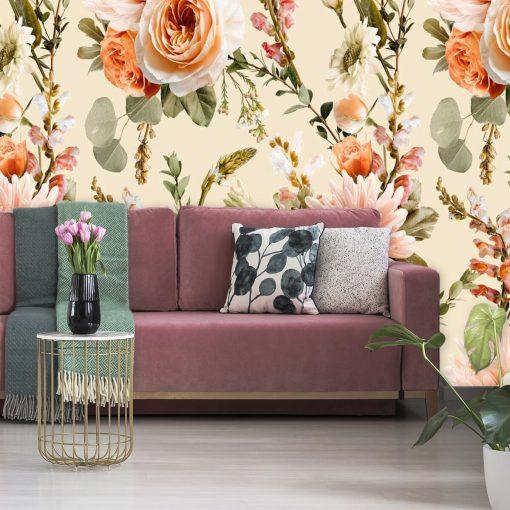 Kwiecista foto-tapeta z różami do sypialni