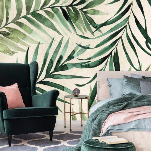 Liście palmy na tapecie do dekoracji sypialni