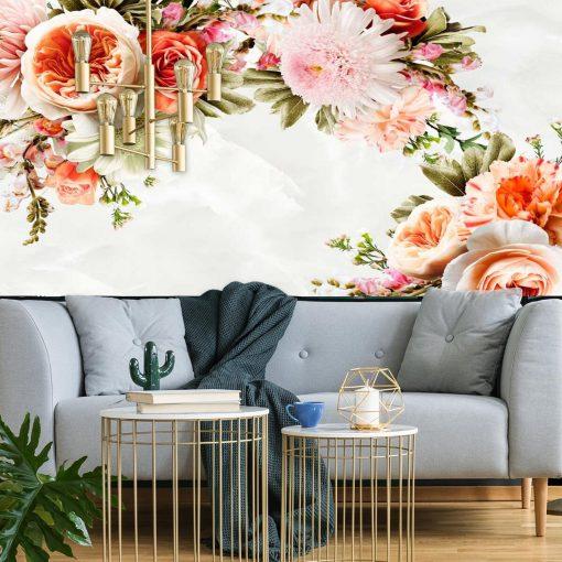 Motywy kwiatowe na fototapecie do montażu w salonie