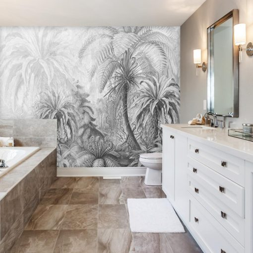 Orientalna fototapeta z palmami do łazienki