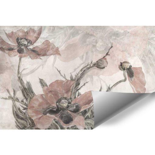 Romantyczna fototapeta w różowe kwiaty do jadalni