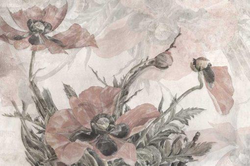 Romantyczna fototapeta w różowe kwiaty do salonu kosmetycznego