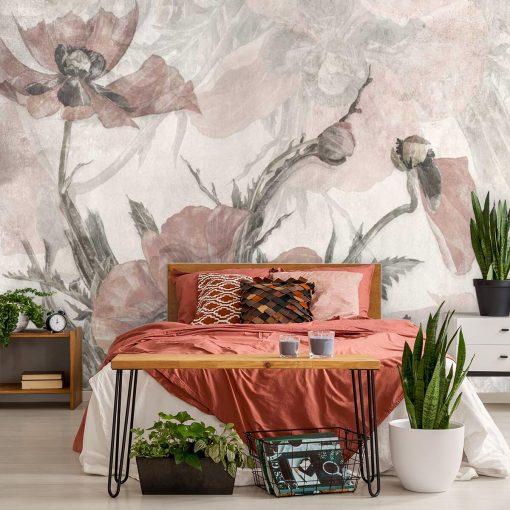 Romantyczna fototapeta w różowe kwiaty do sypialni