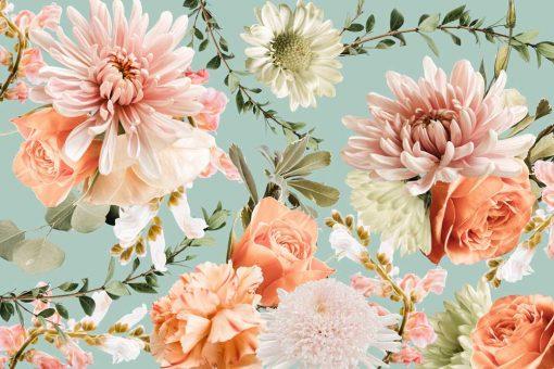 Różowe kwiaty - Delikatna fototapeta botaniczna