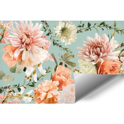 Różowe kwiaty - Delikatna fototapeta botaniczna do gabinetu kosmetycznego
