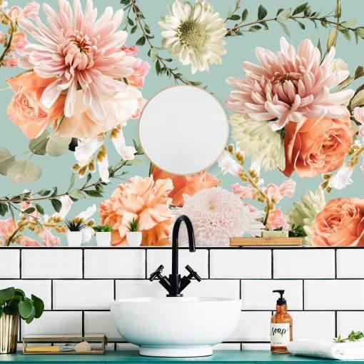 Różowe kwiaty - Delikatna fototapeta botaniczna do łazienki